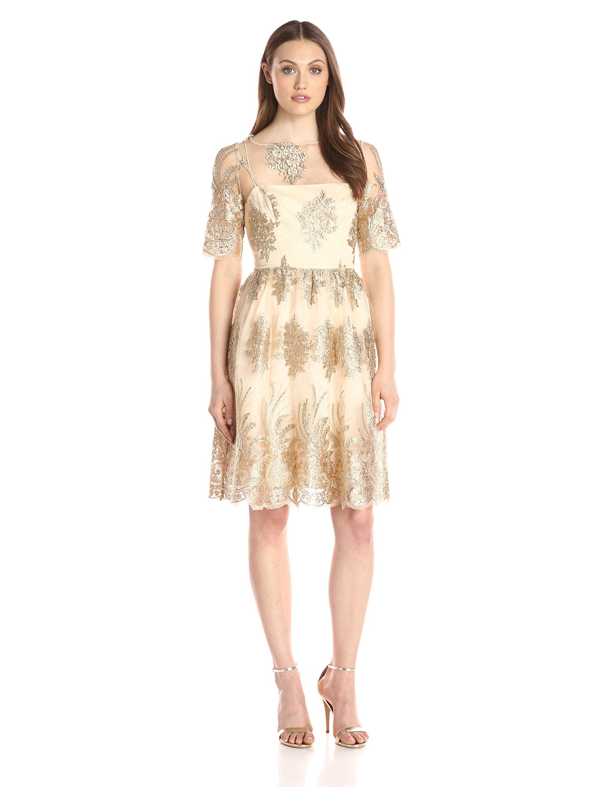 Adrianna papell womenus metallic corded lace party dress gold
