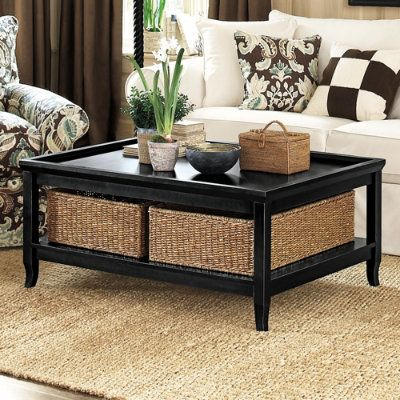 Ballard Morgan Coffee Table with Baskets also in mahogany and white