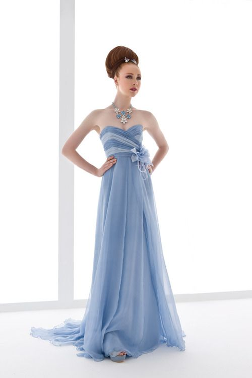 Powder blue bridesmaid dress.. i love this color but the top part ...