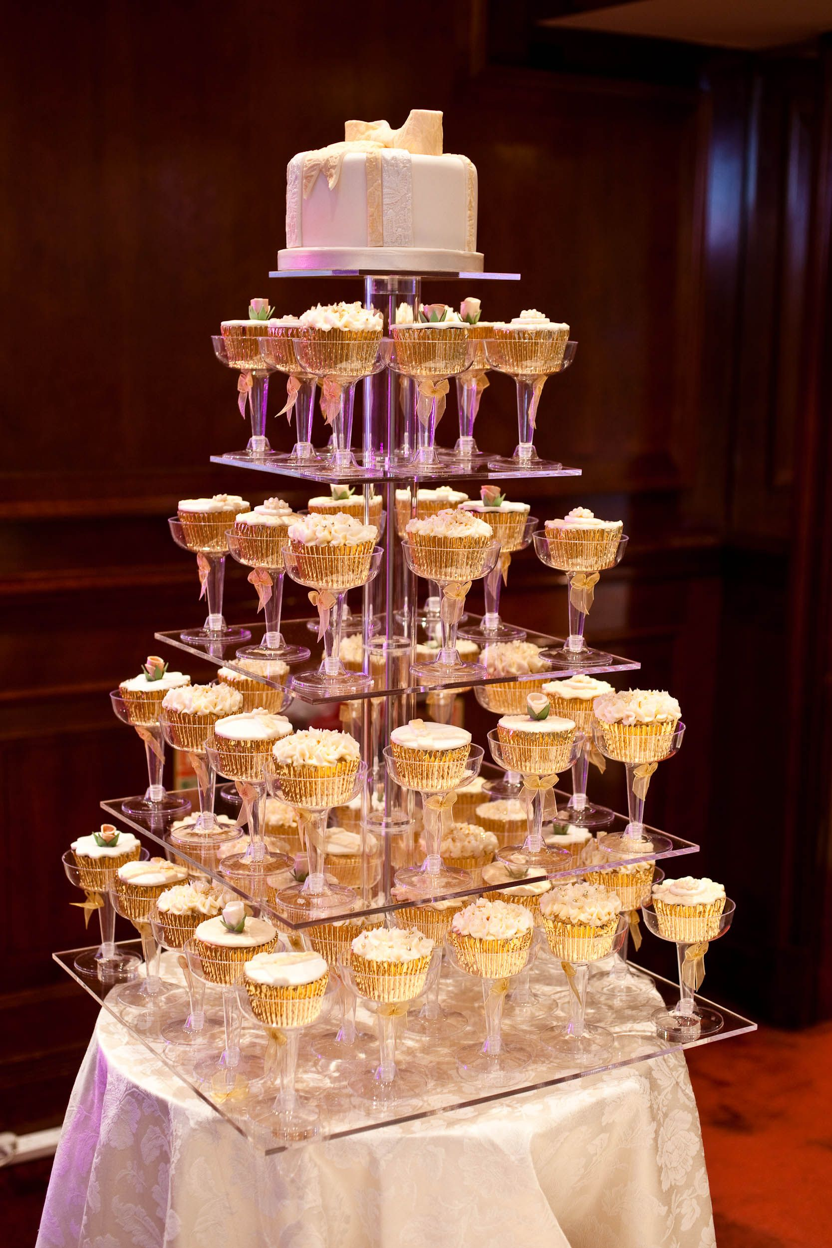 Champagne cupcake tower wwwgenuinecakescouk wedding