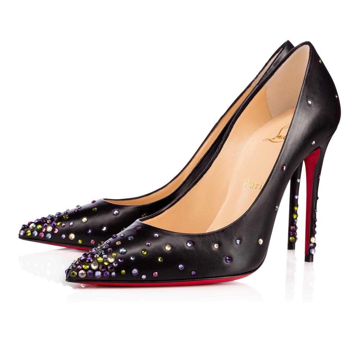 DEGRASTRASS NAPPA SHINY 100 Black/Multicolor Lambskin - Women Shoes - Christian  Louboutin