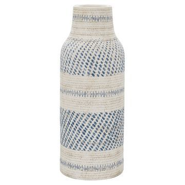 Earthenware Tall Cream/Blue Vase - Threshold™