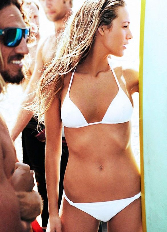 Blake Lively sporting a white bikini in June 2010 for Vogue
