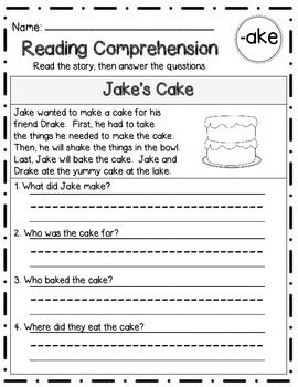 Reading Comprehension Stories & Questions:Long Vowel Families