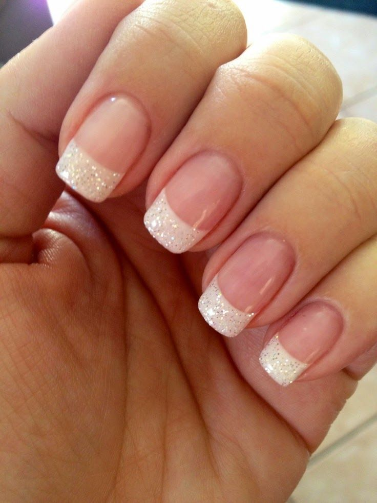 French Manicure Design - French Manicure with Glitter Tips - 50 Amazing French Manicure Designs - Cute French Nail Arts 2019