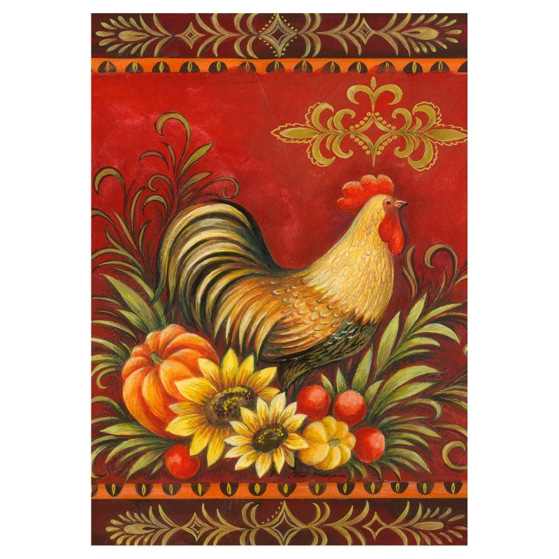 Toland Home Garden Fall Rooster Flag 118274 Rooster