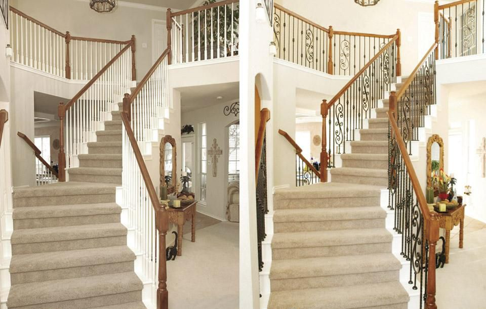 Best Stair Makeover – Replacing Wood Balusters With Wrought Iron Balusters Stair Makeover Banister 400 x 300