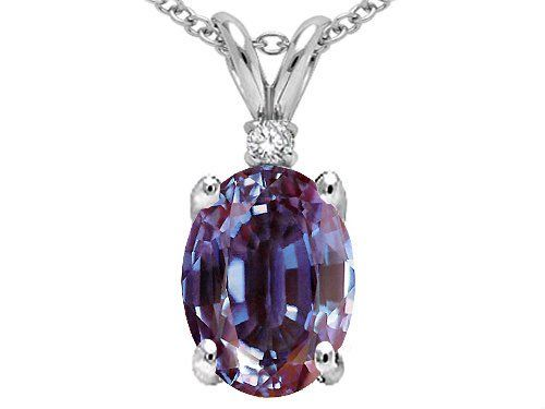 Tommaso Design(tm) Oval 8x6mm Simulated Alexandrite And Genuine Diamond Pendant -