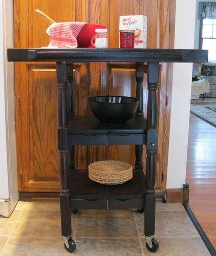 Merveilleux Oasis Folding Island Kitchen Cart W/ Decorative Spindle Legs $128.99