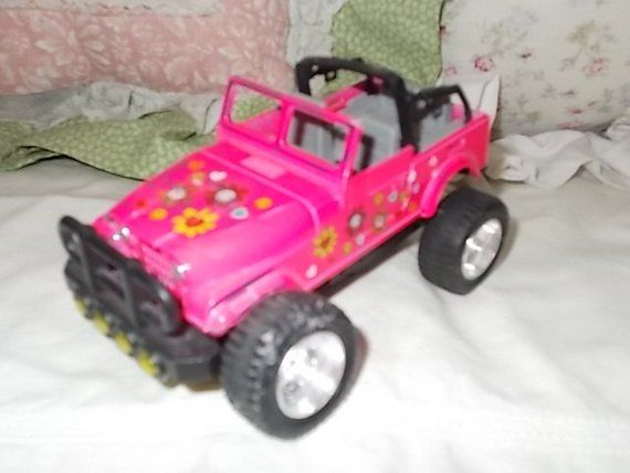 Pink Flowered Jeep Lift Up Hood Jeep Small Metal Jeep Vintage Toy