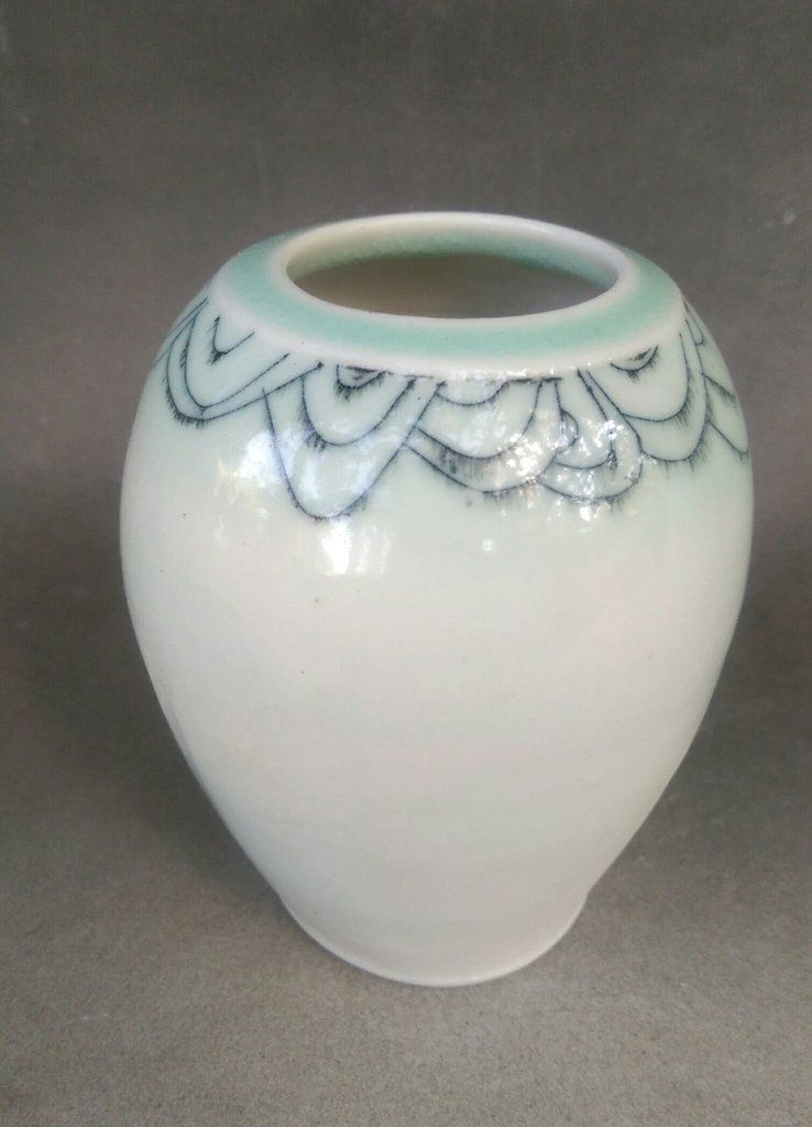 "4""  Porcelain flower vase set, bone China, hand made and decorated"