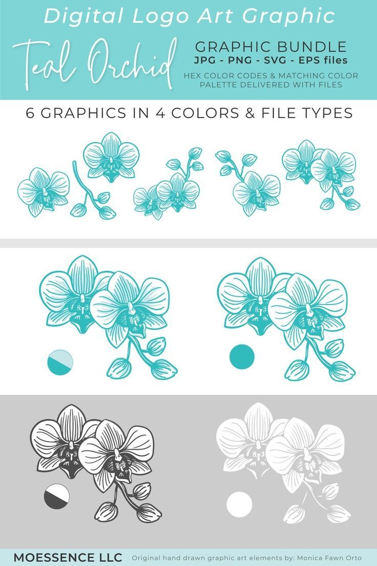TEAL ORCHID Logo Mark Graphic Download Premade Logo