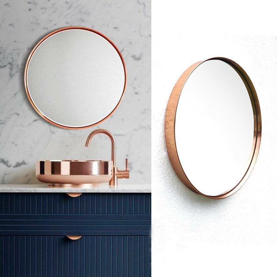 Espejo Redondo Color Cobre Round Mirror Bathroom