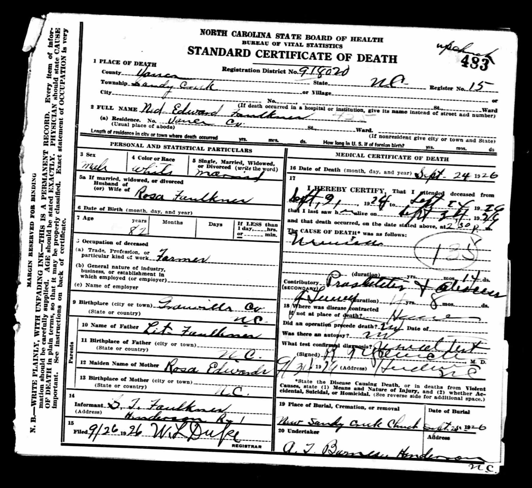 Ned Edward Faulkner Discovered In North Carolina Death Certificates