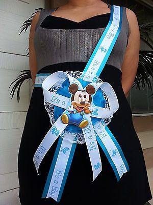 Baby Shower Mickey Mouse Mom To Be It s a Boy Sash Blue Ribbon with Corsage 1a644bb7437