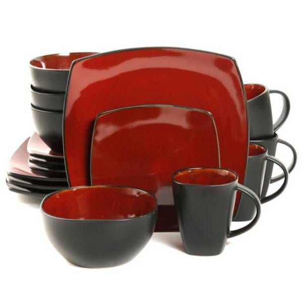 Gibson Home Amalfi 16 Piece Dinnerware Set In Red Black Gibson