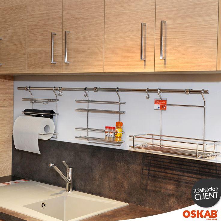 Accessoire credence cuisine porte epice essuie tout - Barre pour accrocher meuble de cuisine ...
