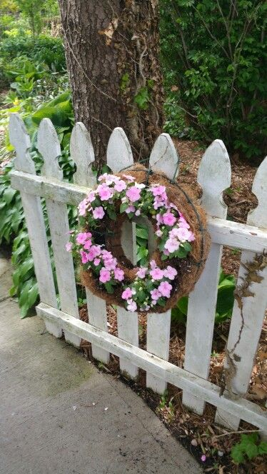 Wreath on picket fence