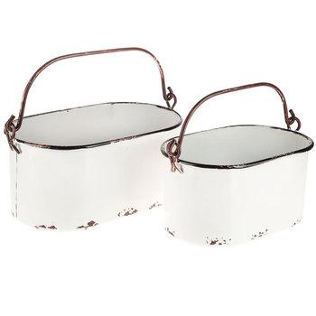 White Rustic Oval Metal Bucket Set Metal Bucket Metal Storage Buckets