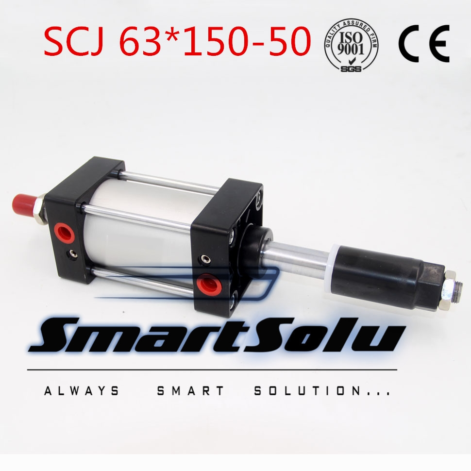 64.88$  Buy now - http://alivmk.worldwells.pw/go.php?t=32533618056 - Free Shipping Airtac type Standard air cylinder single rod 63mm bore 150mm stroke SCJ63x150-50 50mm adjustable stroke cylinder 64.88$