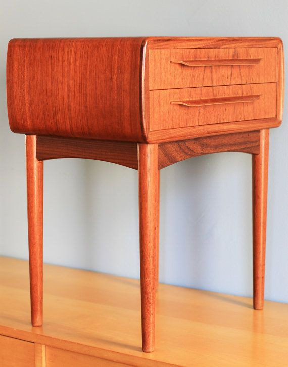 Best Extra Small Gorgeous Danish Modern Nightstand Bedside 400 x 300