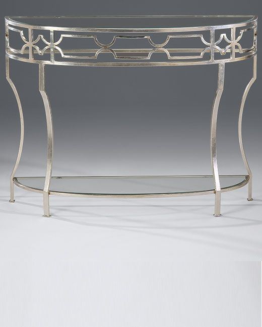Console tables hand wrought iron demilune console table with lightly antiqued silverleaf White demilune console table