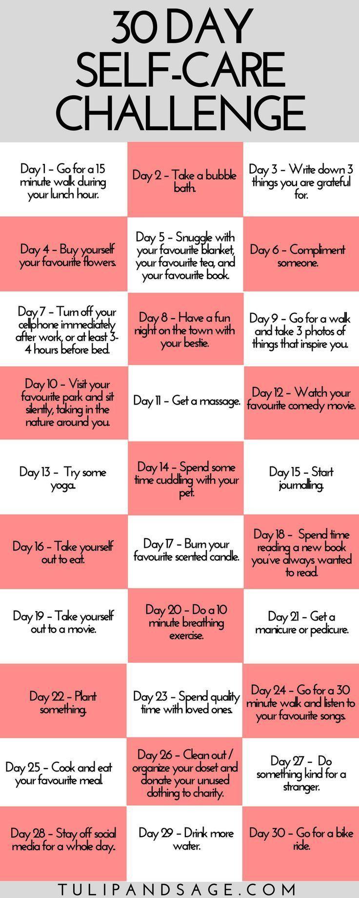 30-Day Self-Care Challenge (Printable) | Tulip and Sage
