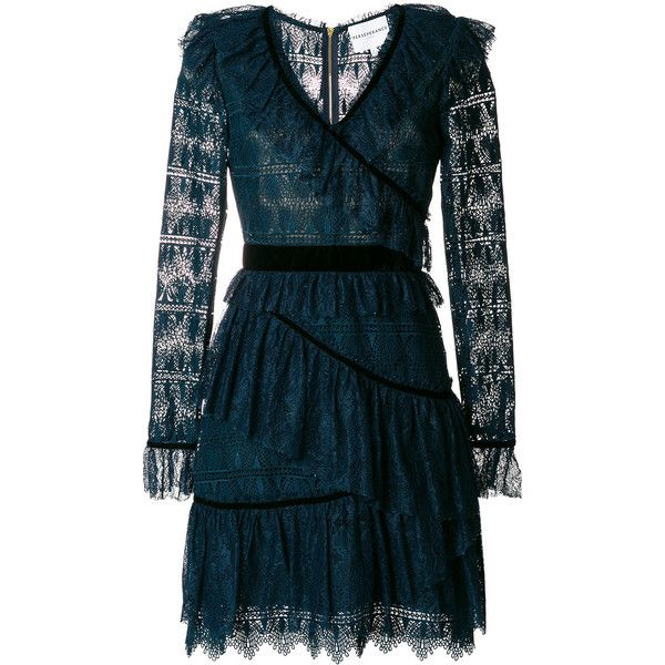 7c1cad0466 Perseverance London velvet-trimmed tiered ruffled lace dress (1.360 BRL) ❤  liked on