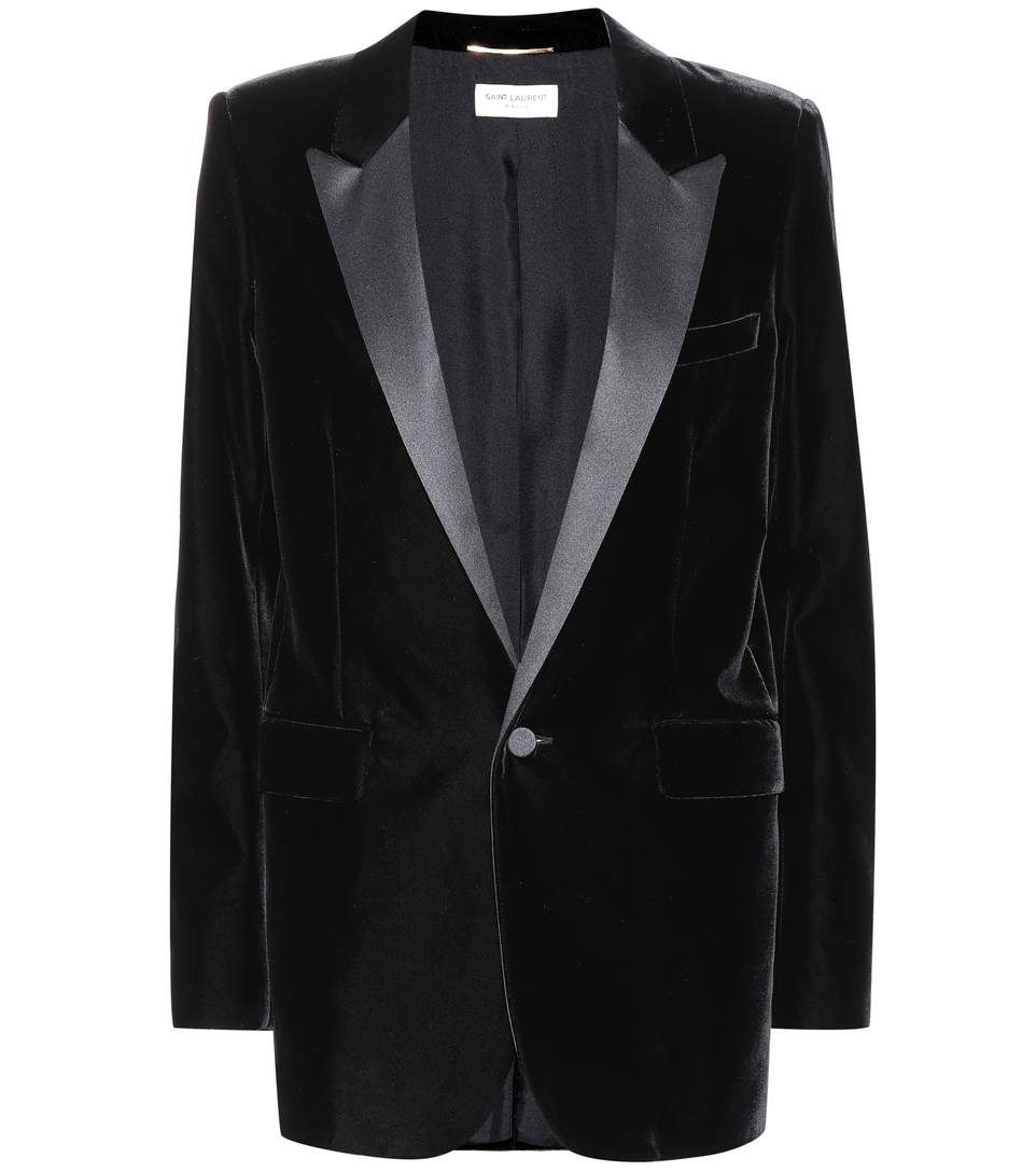 SAINT LAURENT - Velvet blazer - Lend your looks a sharp finish with Saint Laurent's velvet blazer. The classic black hue and tonal satin lapels make this jacket our favourite for an intriguing twist on evening looks. - @ www.mytheresa.com