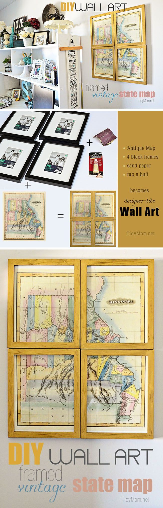 DIY Framed Vintage State Map | Diy wall art, Diy wall and Tutorials