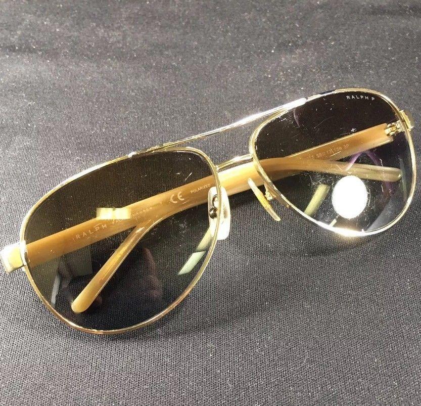 cf602c5990c Vintage Ralph Lauren Aviator Sunglasses Gold Cream Color 4004 101-13 ...