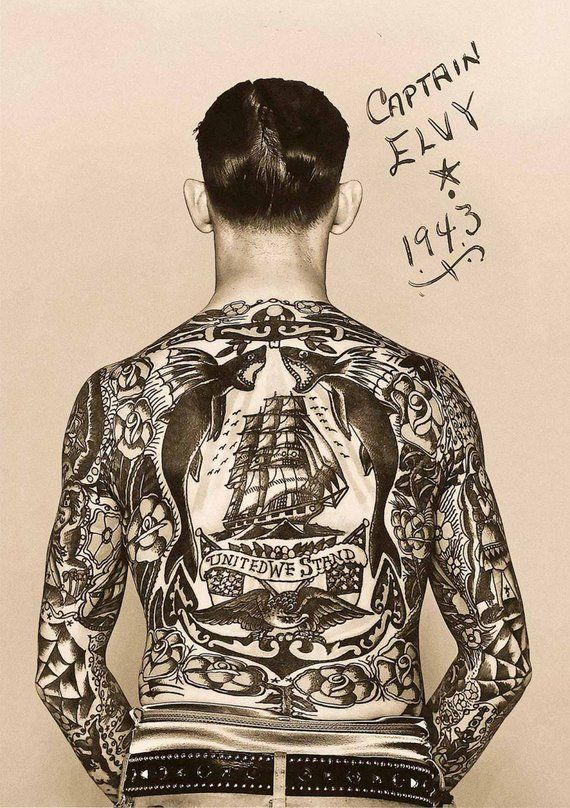 "Photo of Vintage photo tattooed man photograph tattoo art photography print gift wall decor sepia tatted sailor ""United We Stand"" cool poster 1940s"