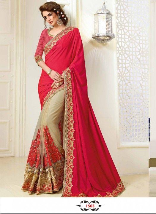 00a4671b89 Buy Two Tone Satin Silk With Nylon Net Red & Cream Designer Saree ...