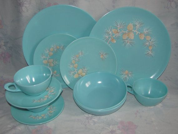 Vintage Melmac Dinnerware Set in Soft Blue/Turquoise with Pinecone Pattern - Dinner Plates Bowls Teacups u0026 Saucers - 11 pcs. $39.99 via Etsy. & Vintage Melmac Dinnerware Set in Soft Blue/Turquoise with Pinecone ...