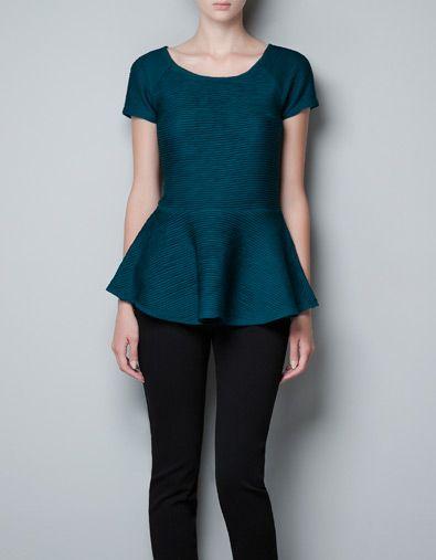 PEPLUM PIN TUCK TOP - T-shirts - Woman - ZARA United States | Tops ...