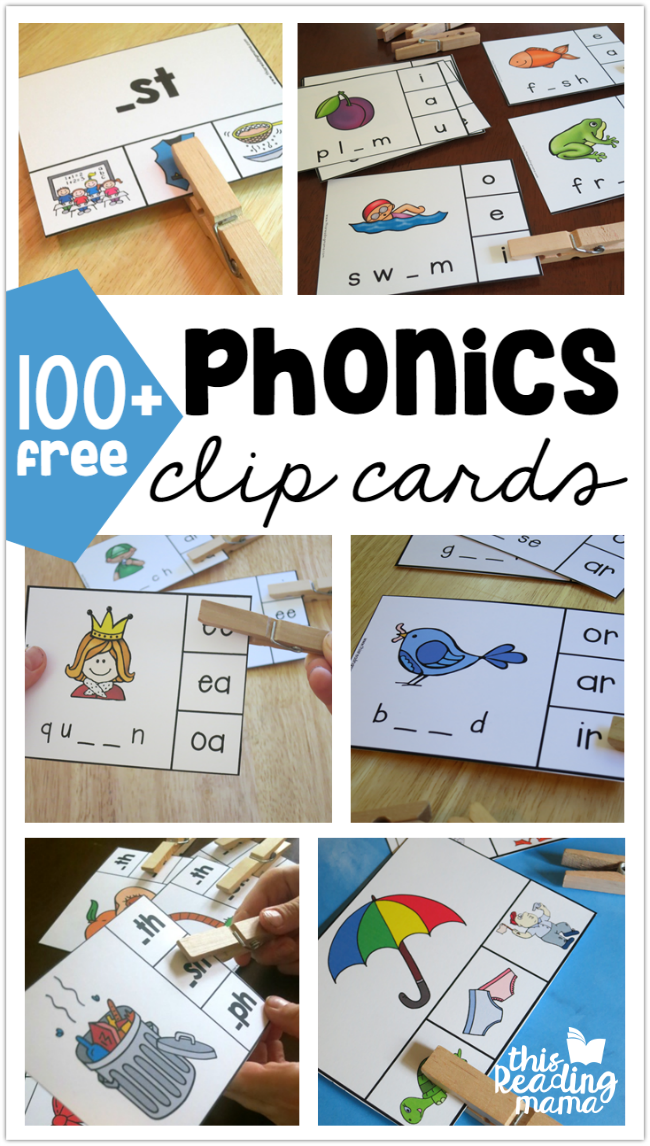 100+ FREE Phonics Clip Cards | Pinterest | Kind