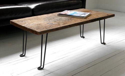 Diy Plank Wood Coffee Table With Hairpin Legs Via Hindsvikathome