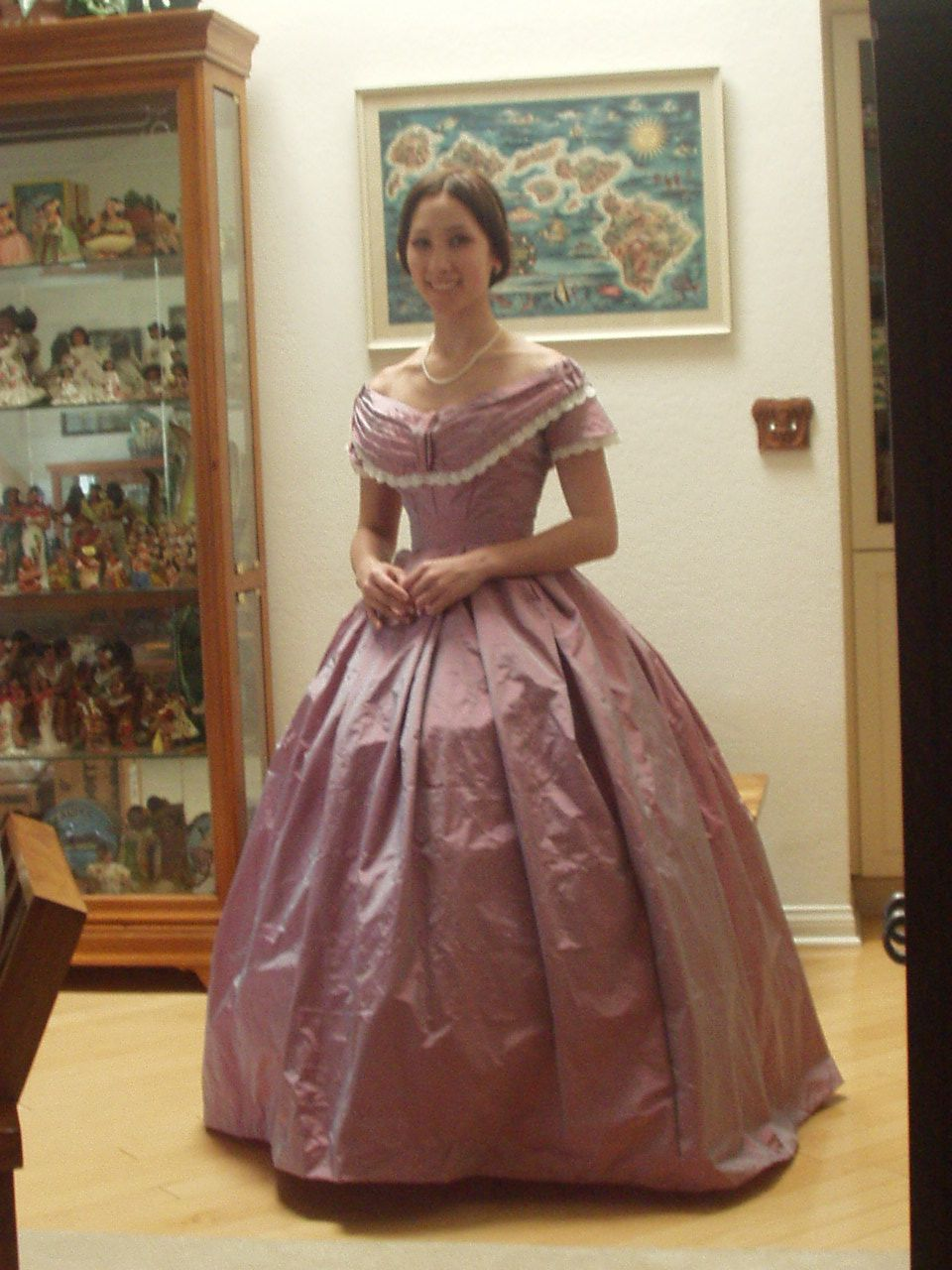 Out of the ice blue satin, though I'm thinking some more detail and more lace. Always more lace!  1860's Ball Gown