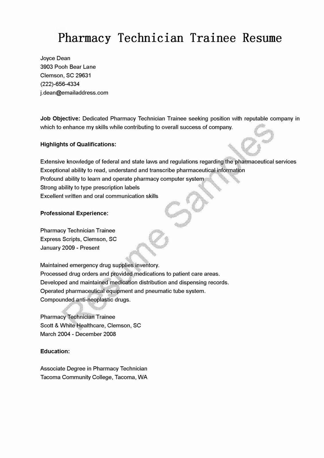 25 pharmacy technician resume objective in 2020 letter