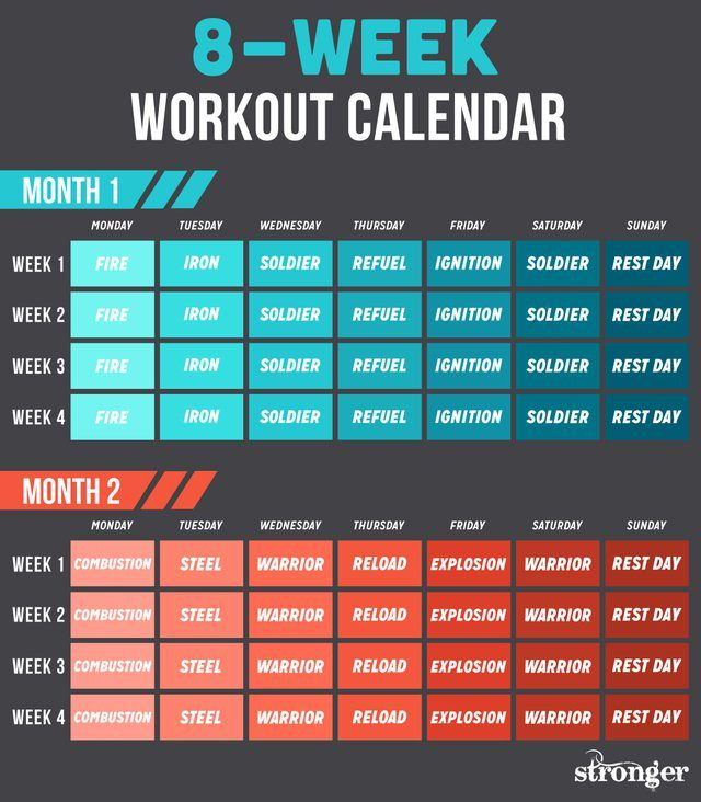 10 Free Workouts to Get You Fitter and Stronger Fitness - workout calendar