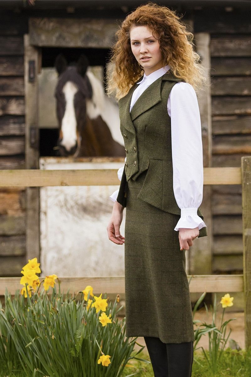Rannock Tweed skirt with Lady Mary waistcoat and Flawless Blouse