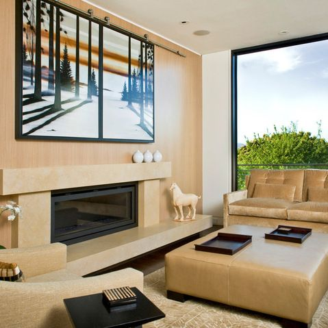 Hide Flat Screen Tv Behind Art Design Ideas Pictures Remodel And Decor
