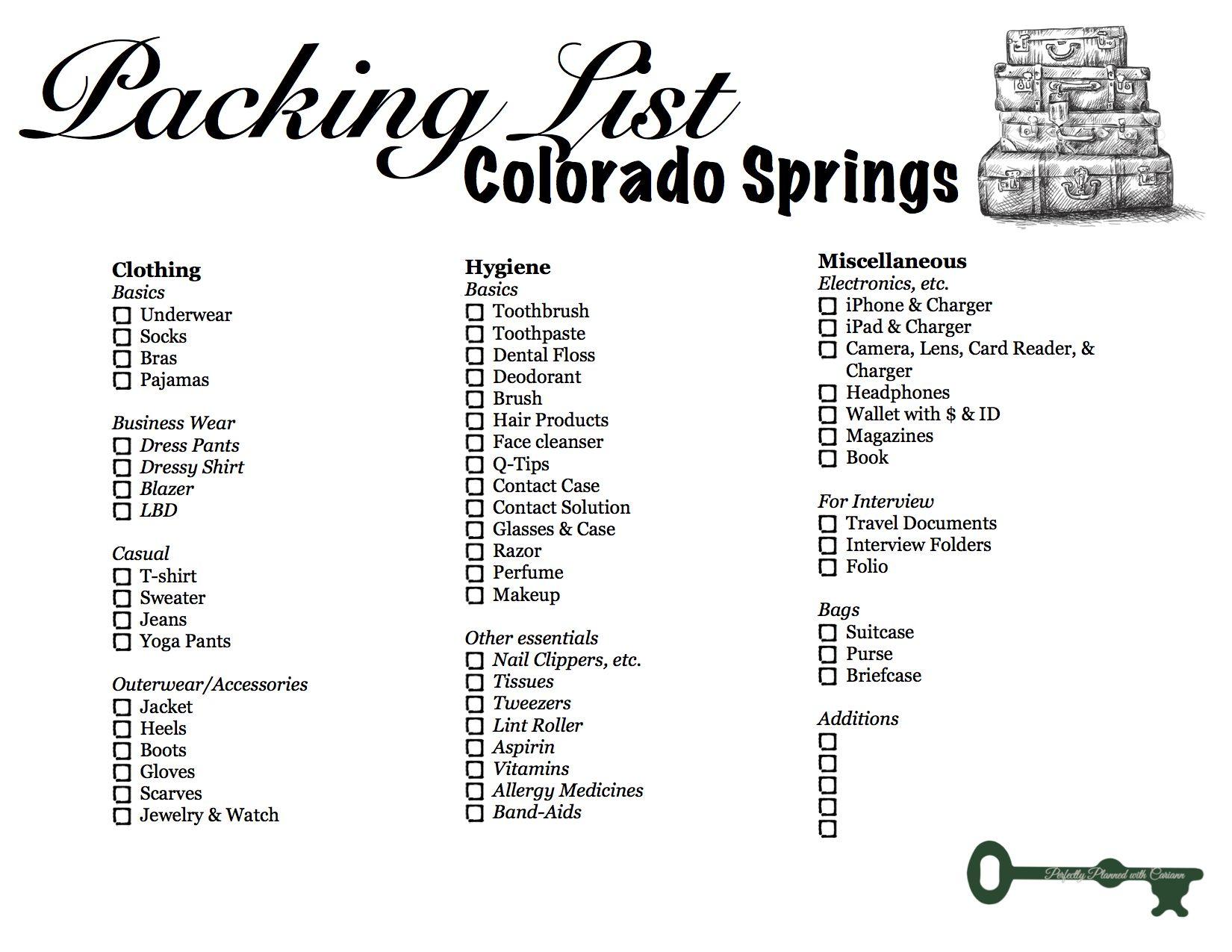 Packing List Colorado Springs