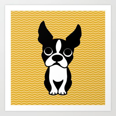 Boston terrier Art Print by EloisaD for my dog wall | Lucy wall ...