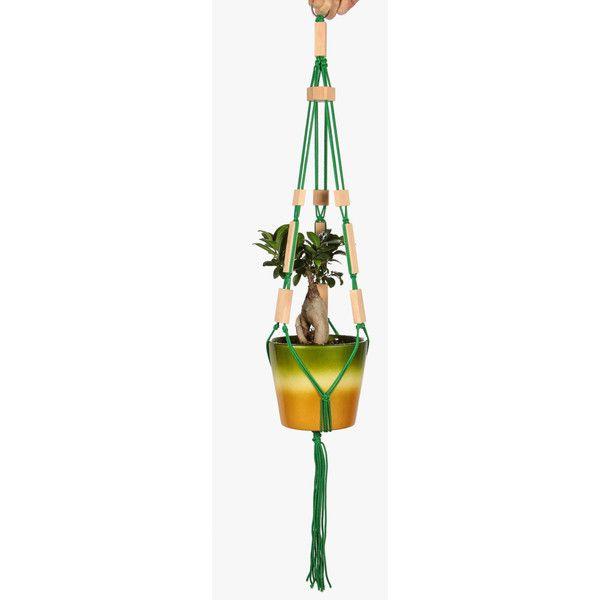Green Hanging Basket Modern Flower Pot Holder Rope Hanging Planter... ($9.50) ❤ liked on Polyvore featuring home, home decor, floral decor, modern home decor, macrame plant hanger, mod home decor, rope plant hanger and green home decor