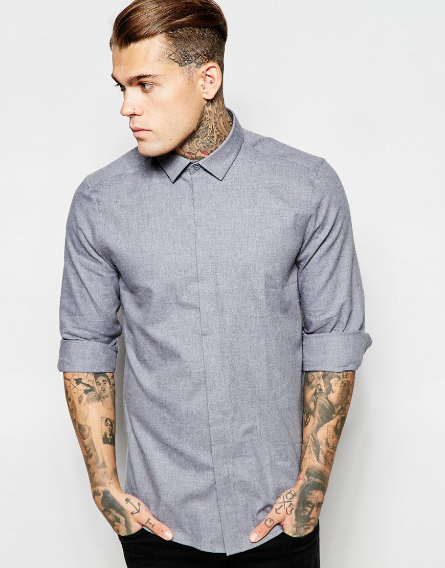 ASOS Shirt In Twill With Long Sleeves