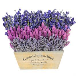 """Preserved lavender and phalaris with larkspur in a tapered rectangular planter.  Product: Preserved floral arrangementConstruction Material: Silicone and natural twigsColor: Pink, purple and weathered whiteFeatures: Includes preserved larkspur, phalaris and larkspurDimensions: 12"""" H x 13"""" W x 5.5"""" D Cleaning and Care: Wipe gently with a dry cloth"""