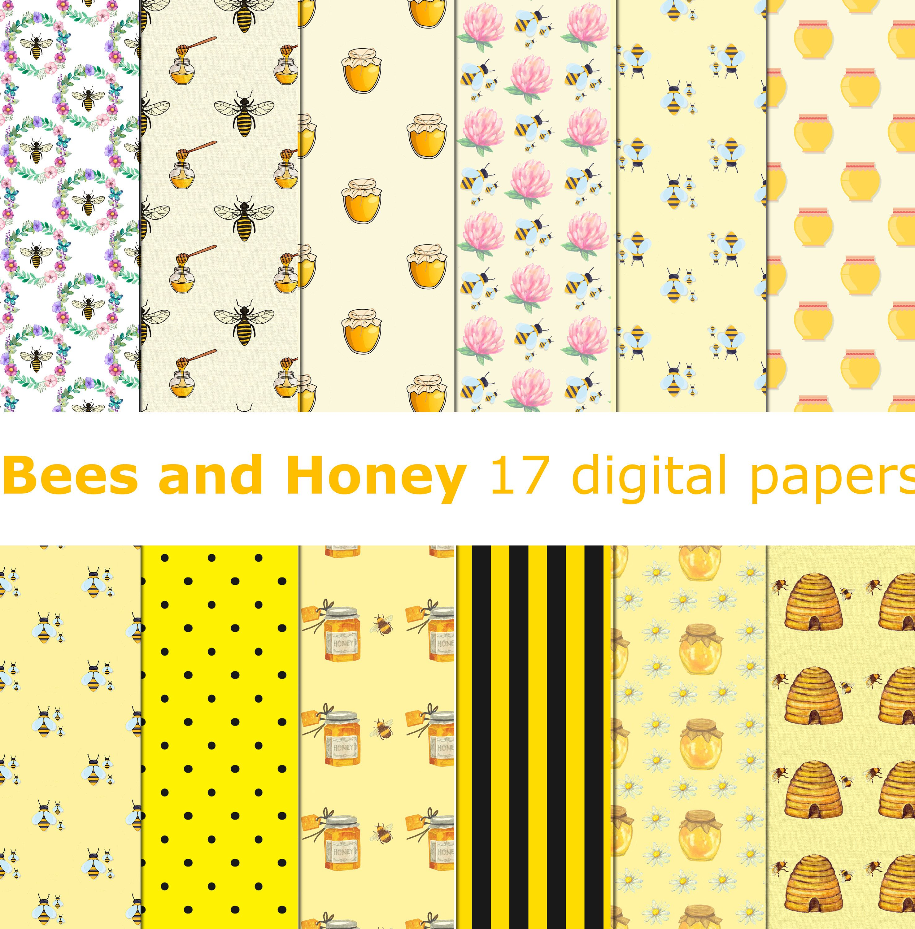 Bees And Honey Digtal Paper Honey Digital Paper Sweet And Honey