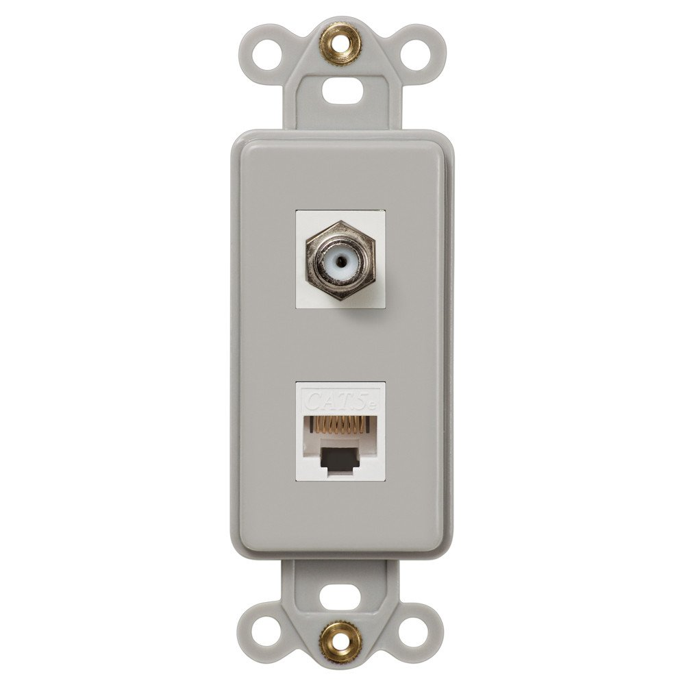 Amerelle Cxdtg Single Coax And Single Data Jack Rocker Insert Wallplate Gray Plates On Wall Switch Plates Stainless Steel Plate