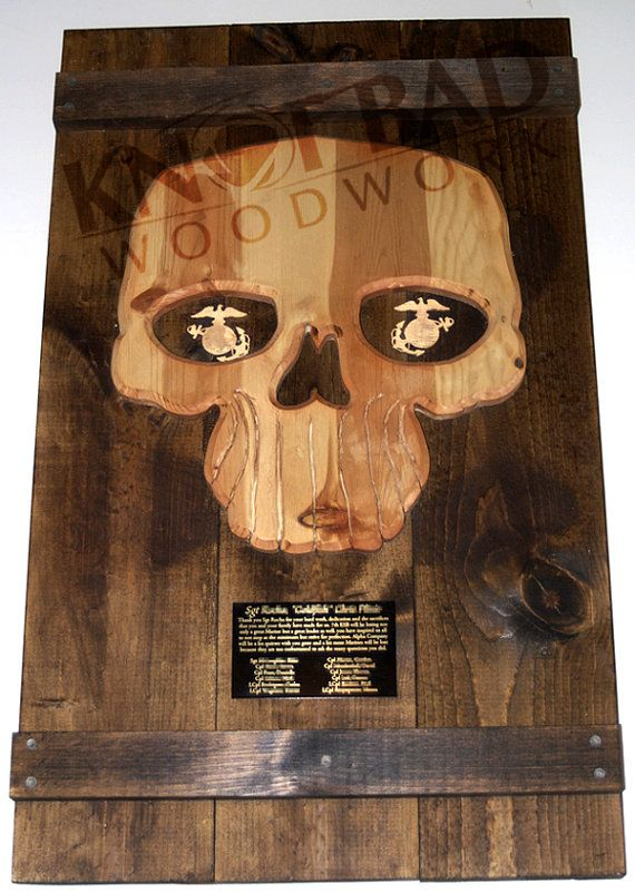Usmc Man Cave Ideas : Custom wooden skull planked plaque by knotbadwoodwork on